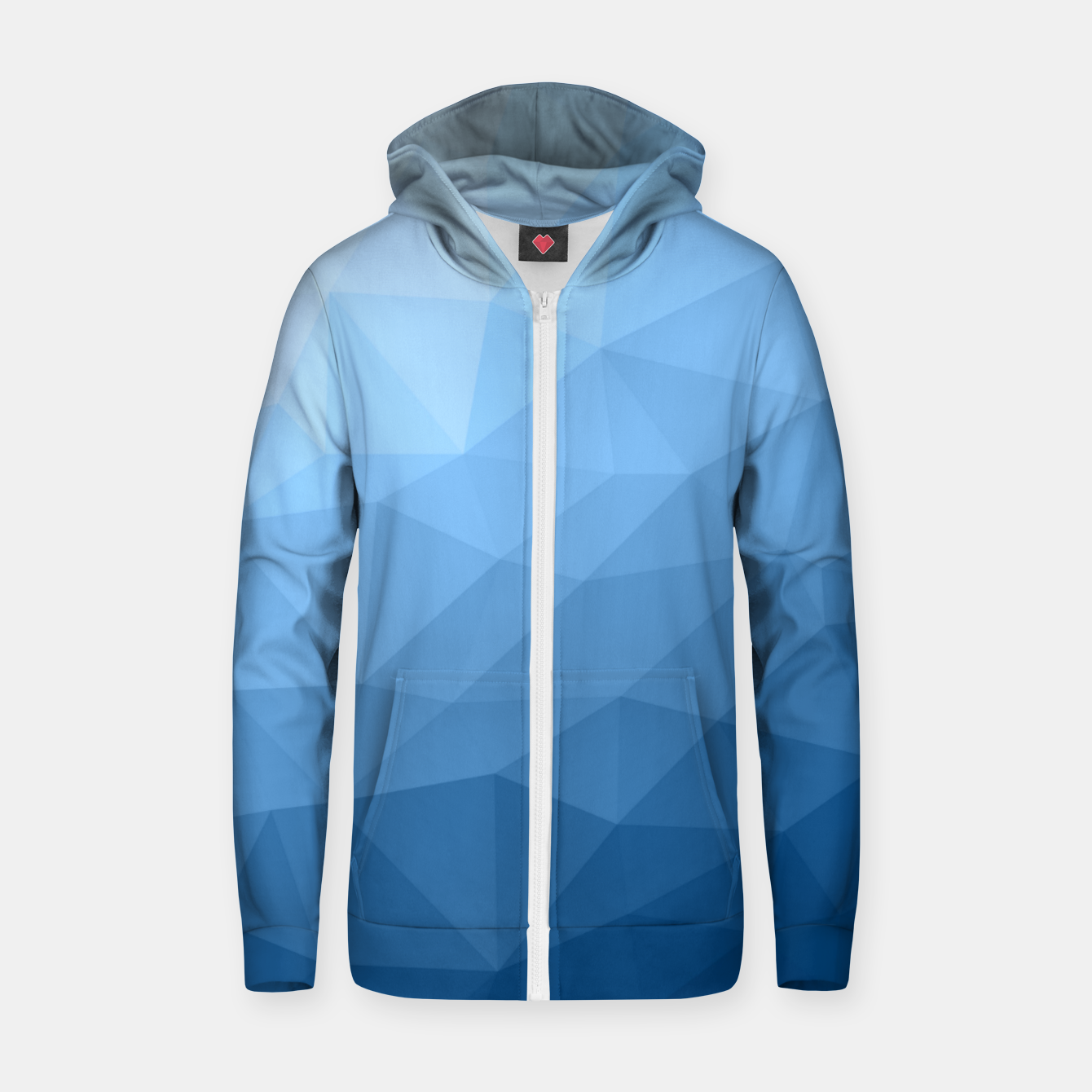 Image of Classic Blue geometric mesh ombre pattern Zip up hoodie - Live Heroes