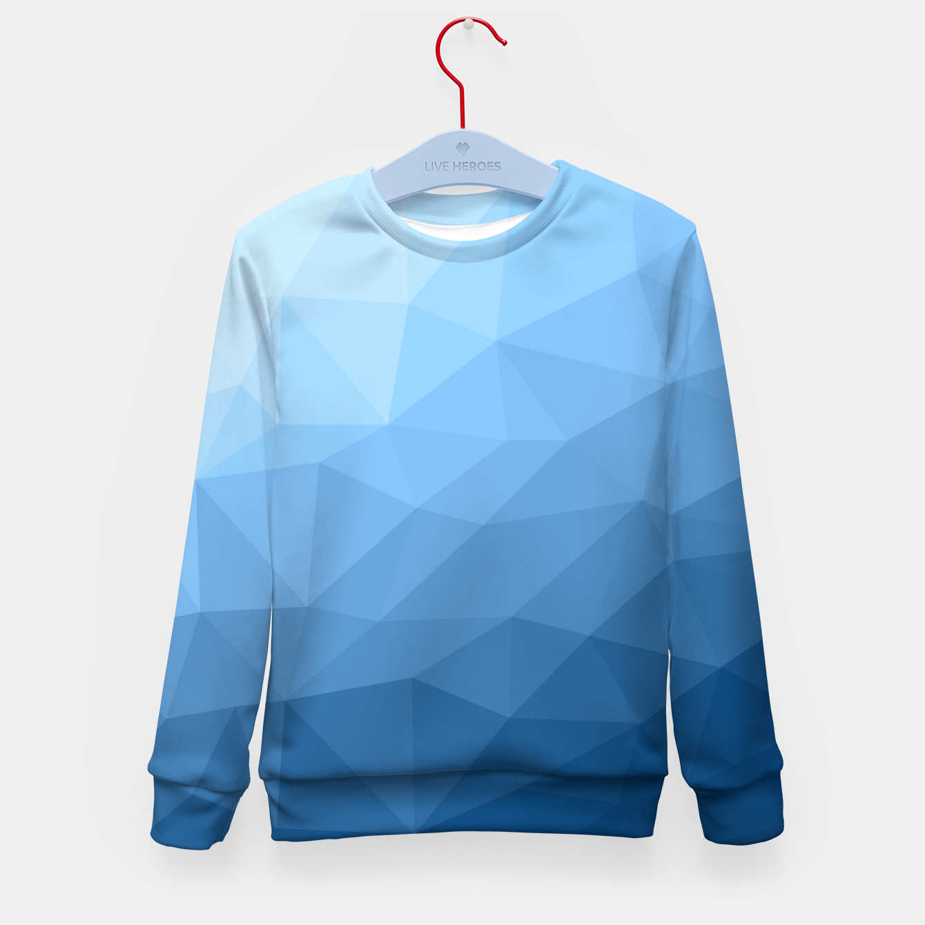 Image of Classic Blue geometric mesh ombre pattern Kid's sweater - Live Heroes