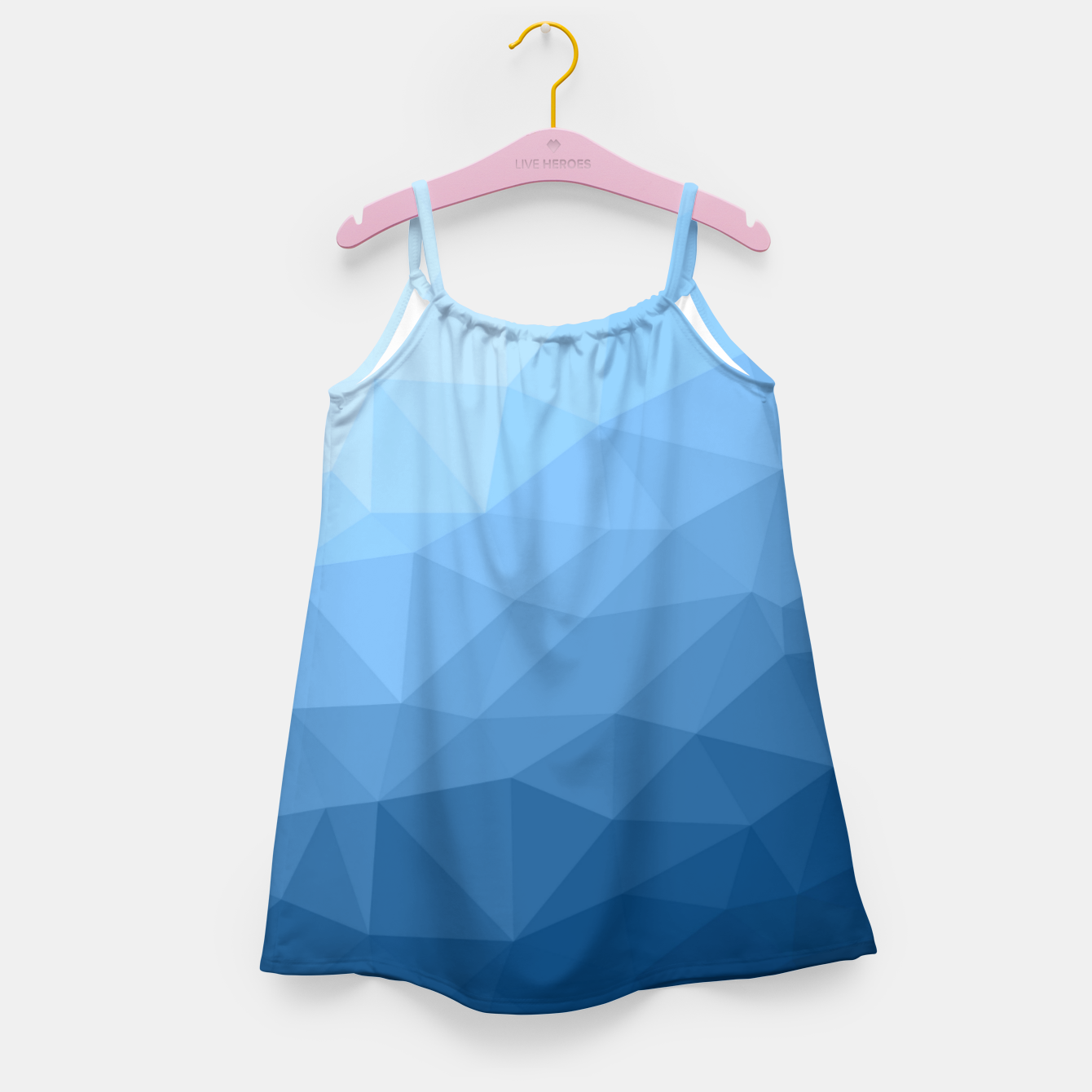 Image of Classic Blue geometric mesh ombre pattern Girl's dress - Live Heroes