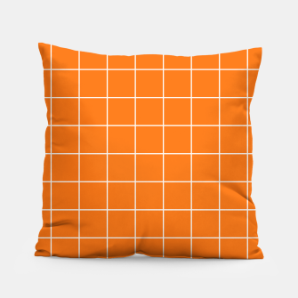 Thumbnail image of Vibrant grid on orange Pillow, Live Heroes