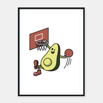Thumbnail image of Avocado Playing Basketball Framed poster, Live Heroes