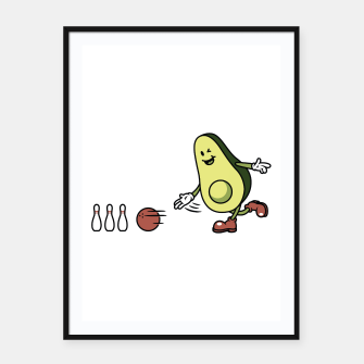 Thumbnail image of Avocado Playing Bowling Framed poster, Live Heroes