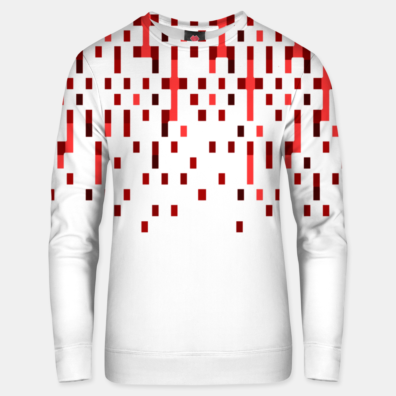 Zdjęcie Red and White Matrix Patterned Design Unisex sweater - Live Heroes