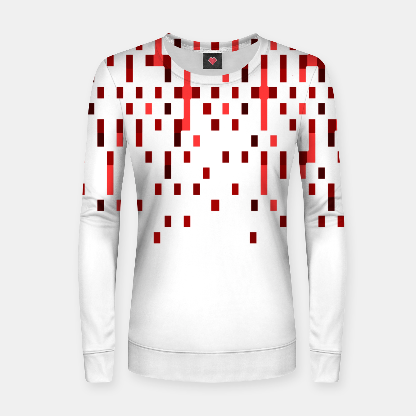 Zdjęcie Red and White Matrix Patterned Design Women sweater - Live Heroes