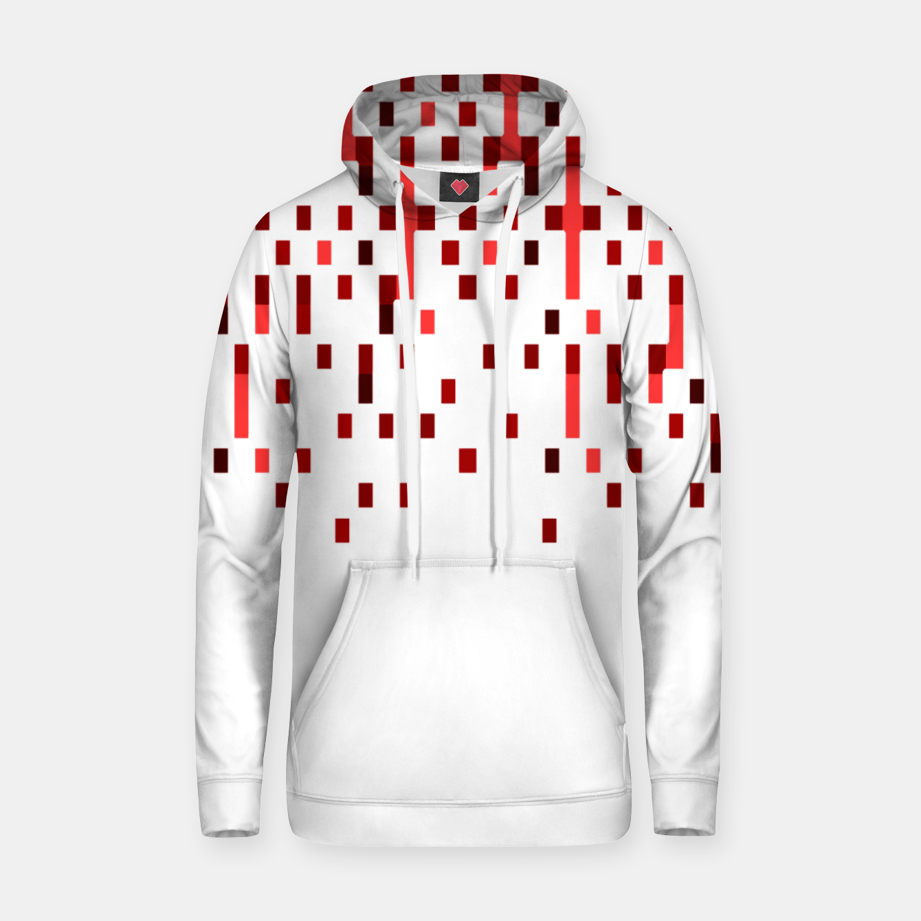 Zdjęcie Red and White Matrix Patterned Design Hoodie - Live Heroes
