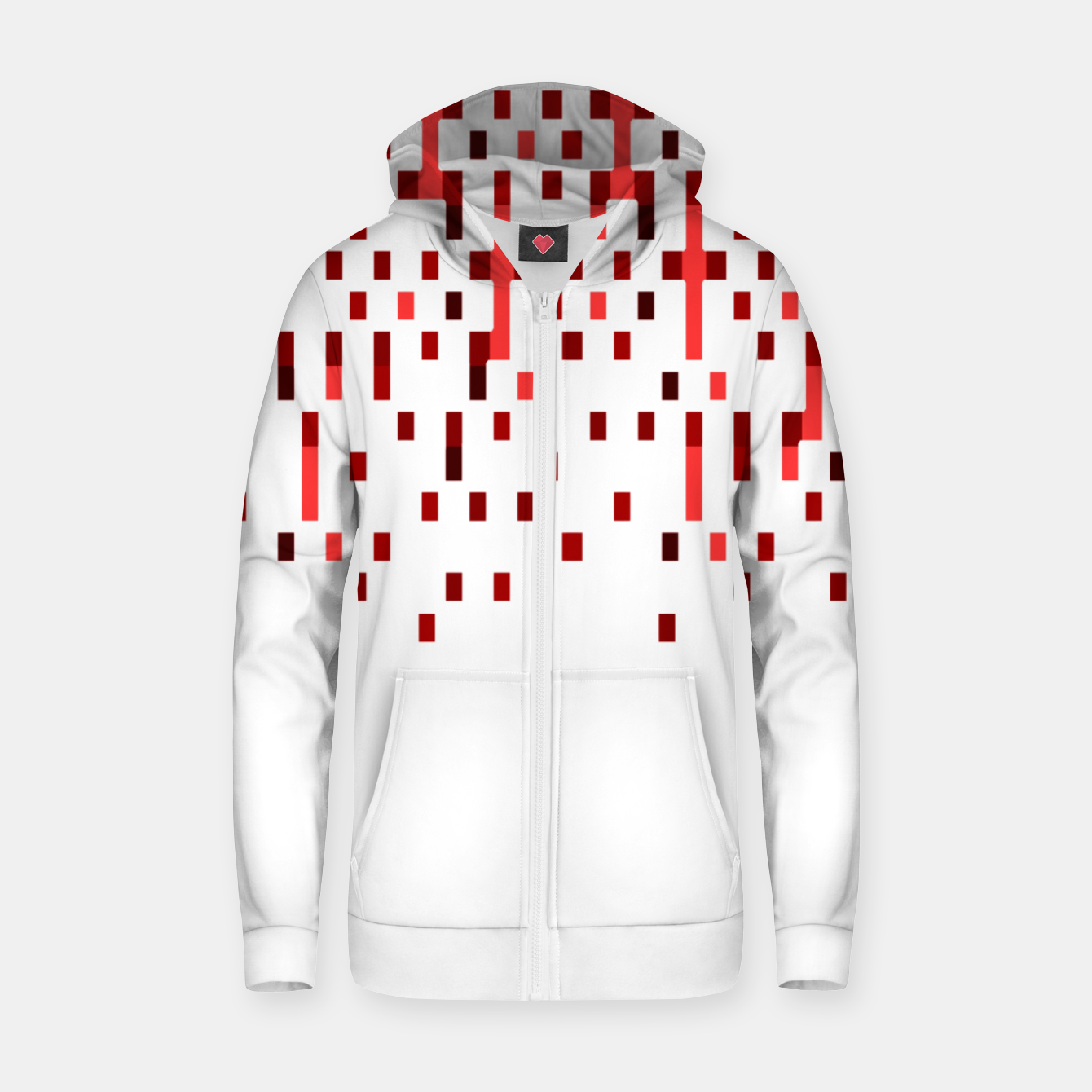 Zdjęcie Red and White Matrix Patterned Design Zip up hoodie - Live Heroes