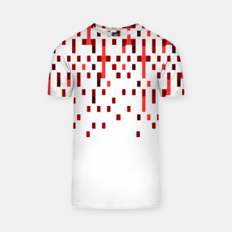 Red and White Matrix Patterned Design T-shirt obraz miniatury