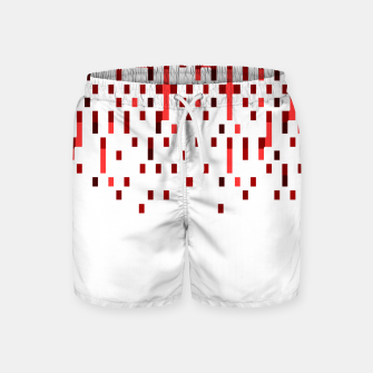 Red and White Matrix Patterned Design Swim Shorts obraz miniatury