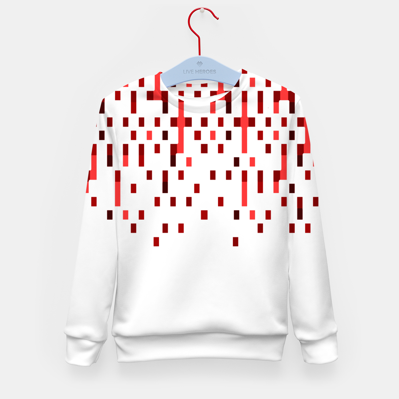 Zdjęcie Red and White Matrix Patterned Design Kid's sweater - Live Heroes
