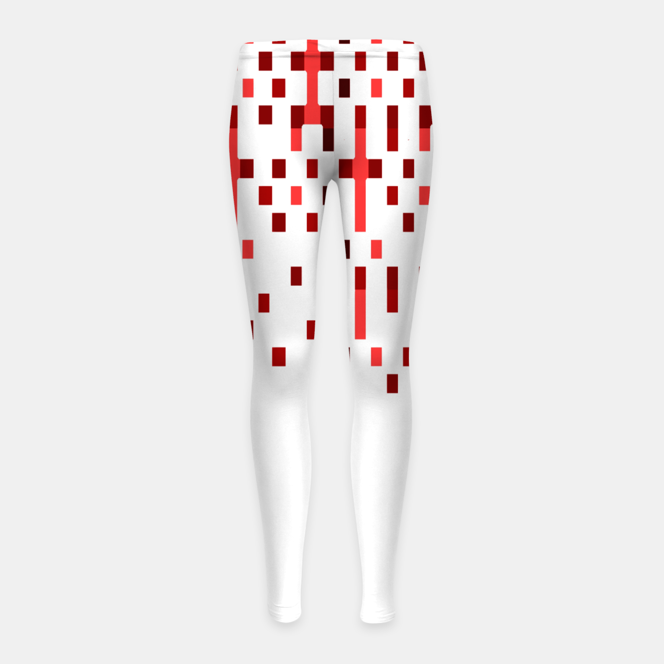 Zdjęcie Red and White Matrix Patterned Design Girl's leggings - Live Heroes