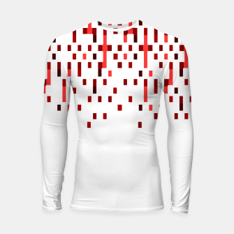 Red and White Matrix Patterned Design Longsleeve rashguard  obraz miniatury