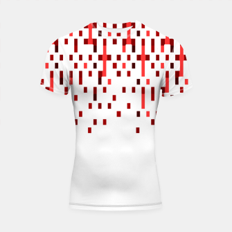 Red and White Matrix Patterned Design Shortsleeve rashguard obraz miniatury