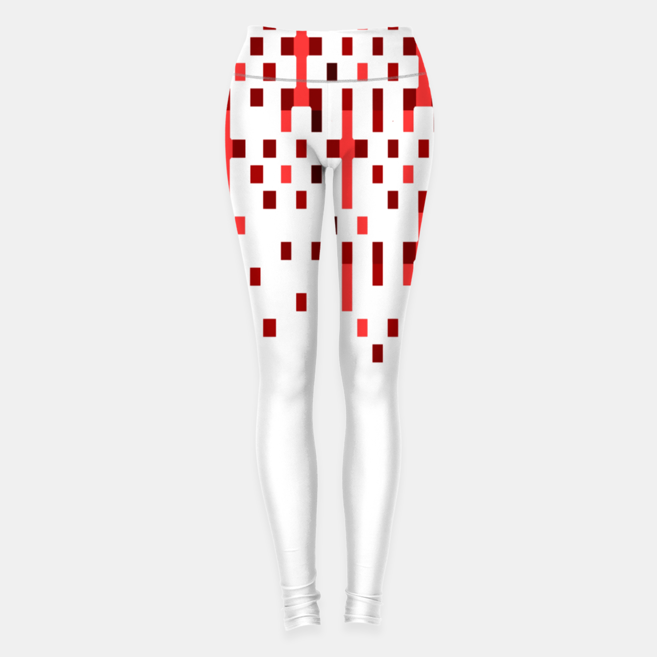Zdjęcie Red and White Matrix Patterned Design Leggings - Live Heroes