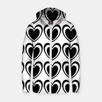 Miniature de image de Heart pattern black and white Zip up hoodie, Live Heroes