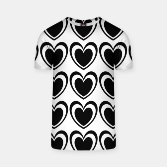 Miniatur Heart pattern black and white T-shirt, Live Heroes