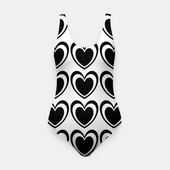 Imagen en miniatura de Heart pattern black and white Swimsuit, Live Heroes