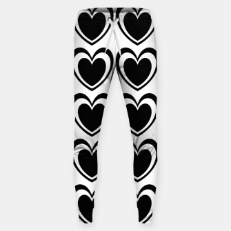 Thumbnail image of Heart pattern black and white Sweatpants, Live Heroes