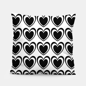 Miniatur Heart pattern black and white Pillow, Live Heroes