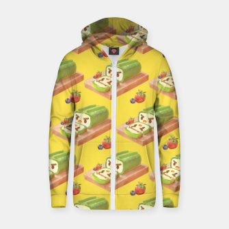 Thumbnail image of Matcha Cake Roll Pattern Zip up hoodie, Live Heroes