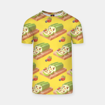 Thumbnail image of Matcha Cake Roll Pattern T-shirt, Live Heroes