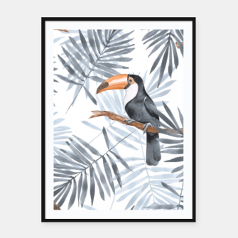 Miniatur Toucans and palm leaves Framed poster, Live Heroes