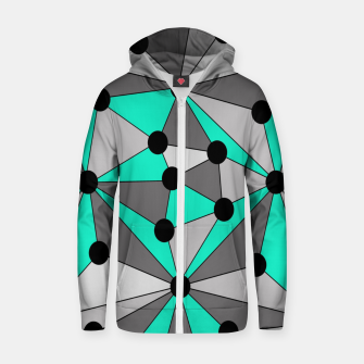 Thumbnail image of Abstract geometric pattern - gray and turkiz. Zip up hoodie, Live Heroes
