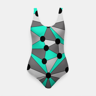 Miniatur Abstract geometric pattern - gray and turkiz. Swimsuit, Live Heroes
