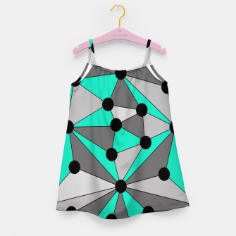 Thumbnail image of Abstract geometric pattern - gray and turkiz. Girl's dress, Live Heroes