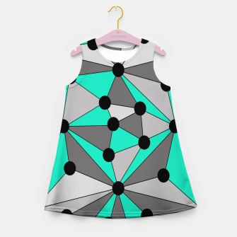 Thumbnail image of Abstract geometric pattern - gray and turkiz. Girl's summer dress, Live Heroes