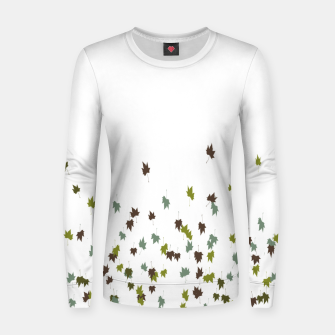 Multicolor Leaves Motif Pattern Print Women sweater obraz miniatury