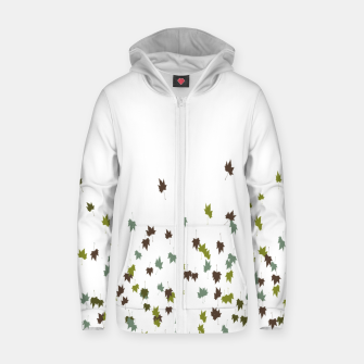 Multicolor Leaves Motif Pattern Print Zip up hoodie obraz miniatury