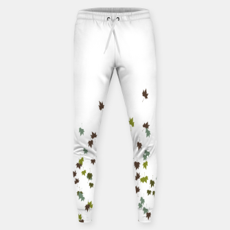 Multicolor Leaves Motif Pattern Print Sweatpants obraz miniatury