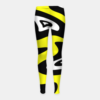 Thumbnail image of Abstract pattern - yellow, black and white. Girl's leggings, Live Heroes
