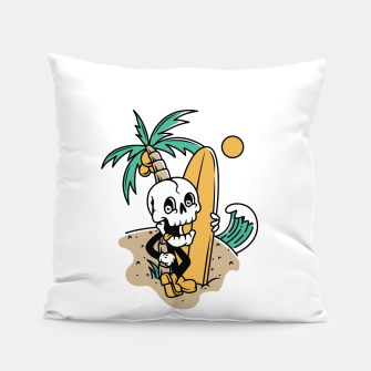 Thumbnail image of Skull Ready to Surf Pillow, Live Heroes