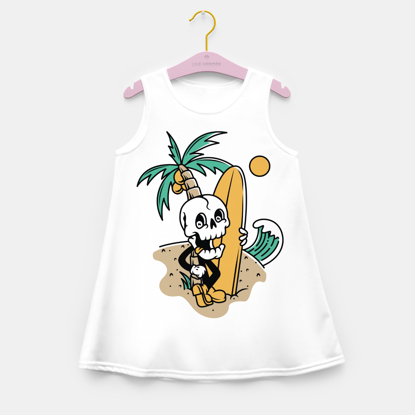Foto Skull Ready to Surf Girl's summer dress - Live Heroes
