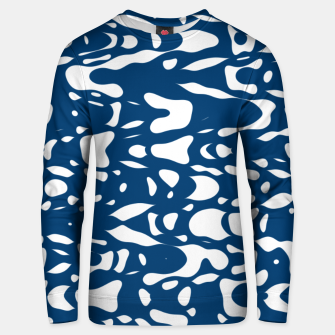 Classic blue, flying white pieces and small particles free in the space, relaxing design Unisex sweater thumbnail image