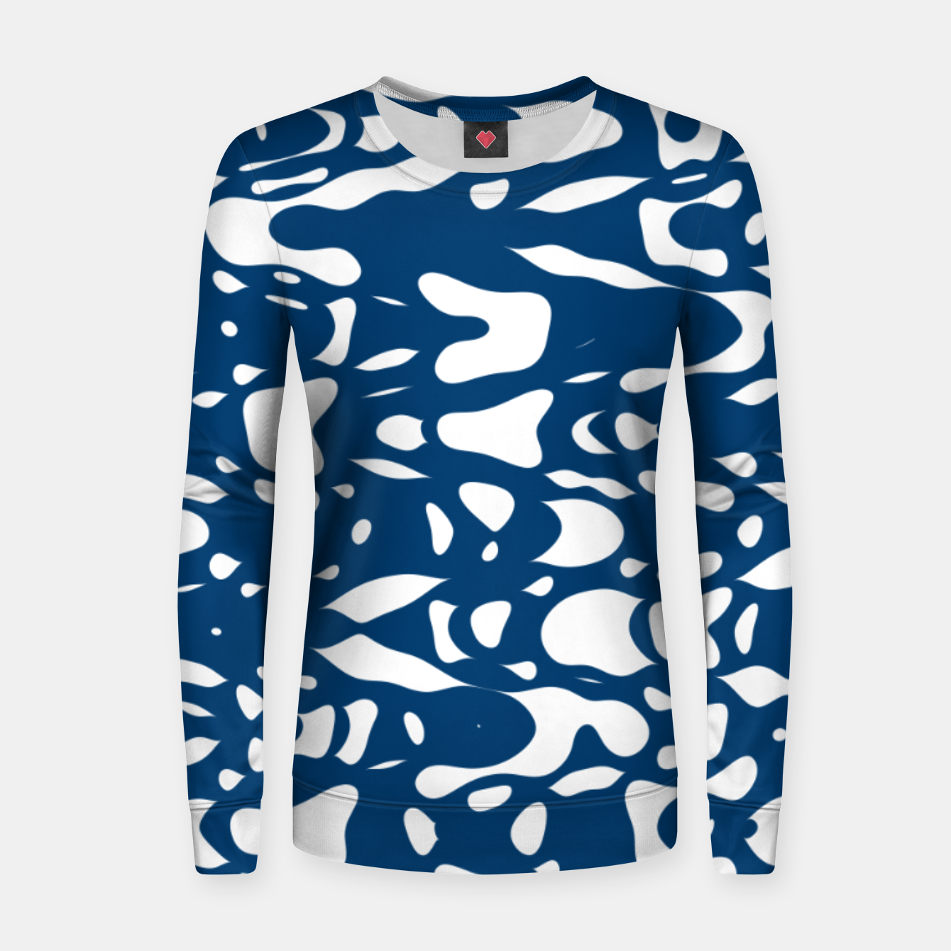 Image of Classic blue, flying white pieces and small particles free in the space, relaxing design Women sweater - Live Heroes