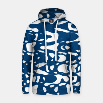 Classic blue, flying white pieces and small particles free in the space, relaxing design Hoodie thumbnail image