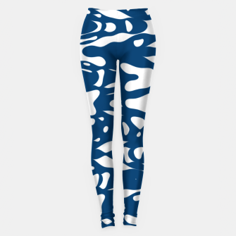 Classic blue, flying white pieces and small particles free in the space, relaxing design Leggings thumbnail image