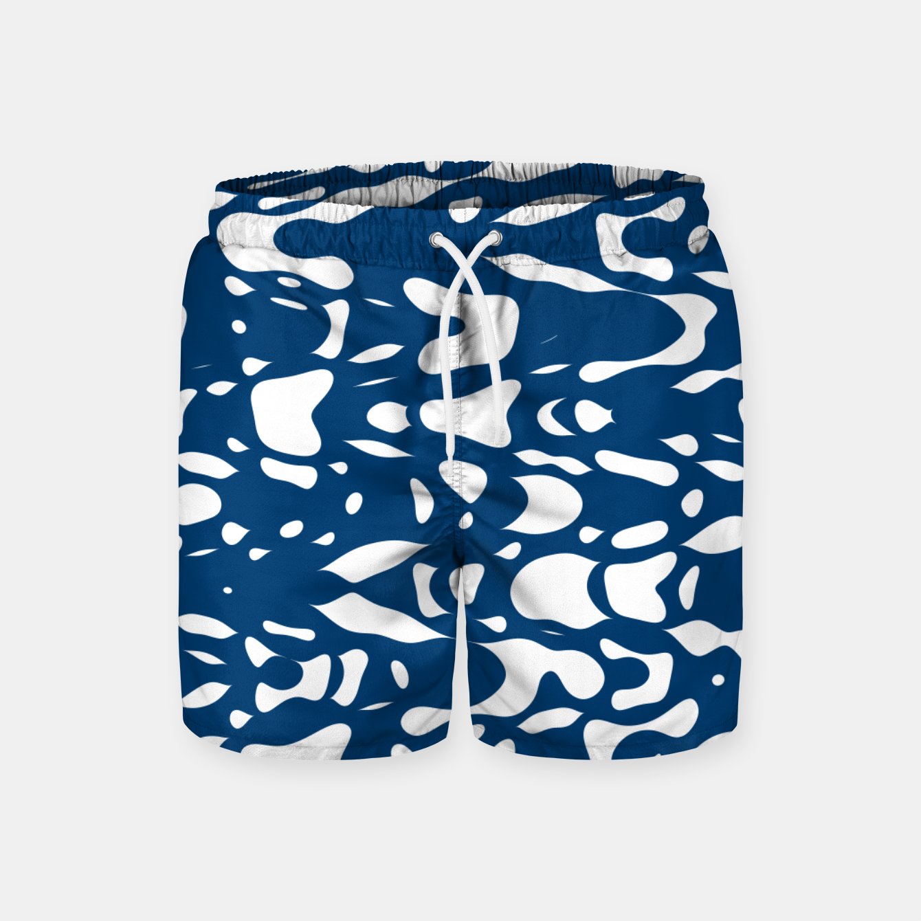 Image of Classic blue, flying white pieces and small particles free in the space, relaxing design Swim Shorts - Live Heroes