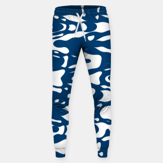 Classic blue, flying white pieces and small particles free in the space, relaxing design Sweatpants thumbnail image