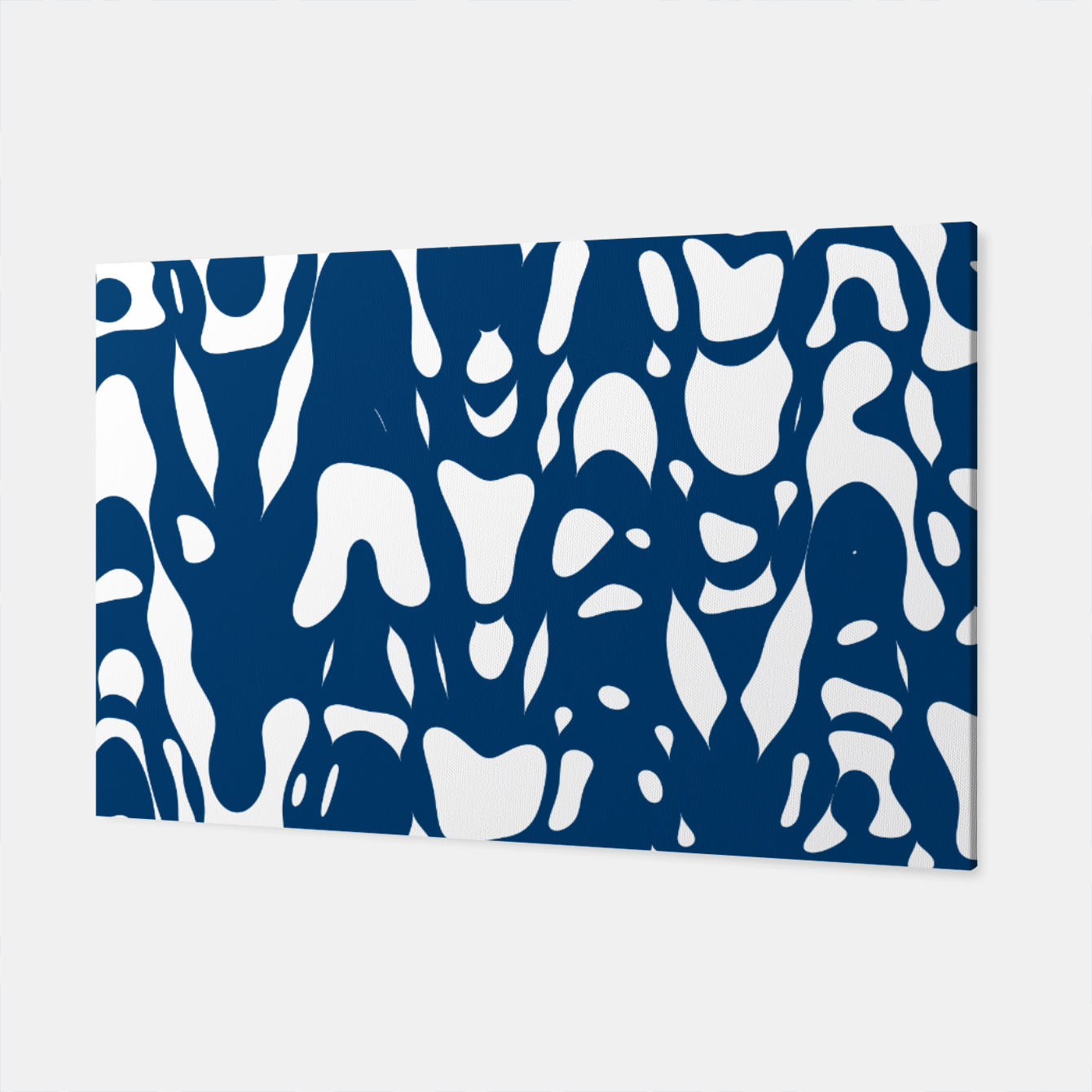 Image of Classic blue, flying white pieces and small particles free in the space, relaxing design Canvas - Live Heroes