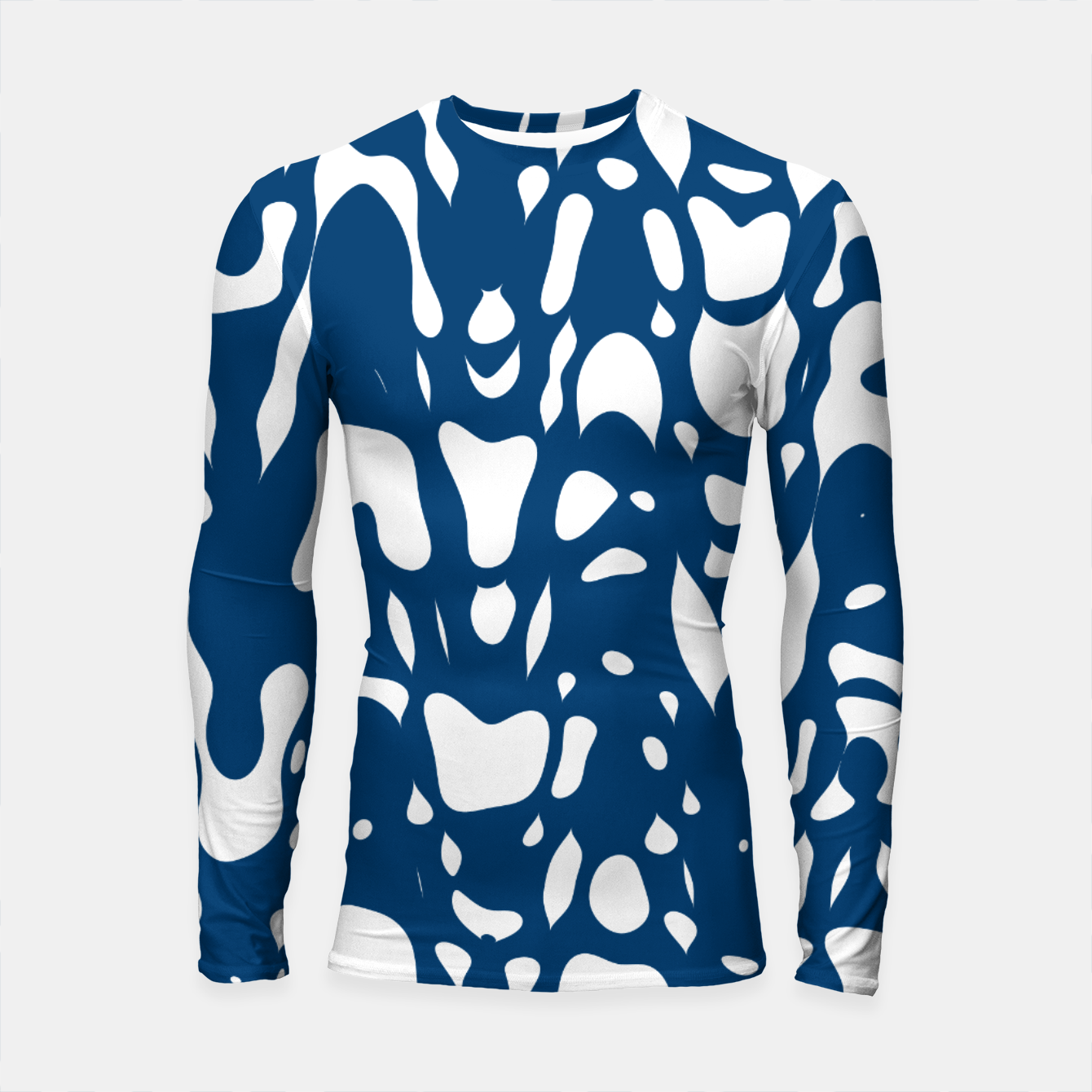 Image of Classic blue, flying white pieces and small particles free in the space, relaxing design Longsleeve rashguard  - Live Heroes