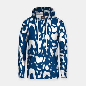 Thumbnail image of Classic blue, flying white pieces and small particles free in the space, relaxing design Hoodie, Live Heroes