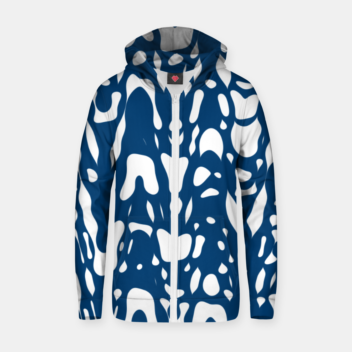 Image of Classic blue, flying white pieces and small particles free in the space, relaxing design Zip up hoodie - Live Heroes