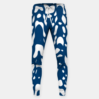 Thumbnail image of Classic blue, flying white pieces and small particles free in the space, relaxing design Sweatpants, Live Heroes