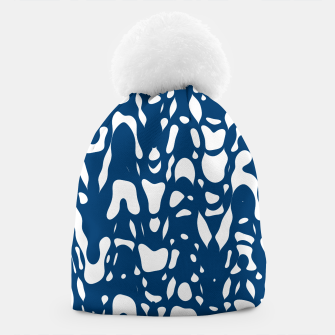 Classic blue, flying white pieces and small particles free in the space, relaxing design Beanie thumbnail image