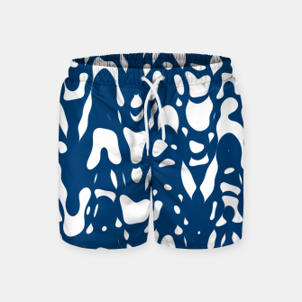Thumbnail image of Classic blue, flying white pieces and small particles free in the space, relaxing design Swim Shorts, Live Heroes