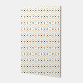 Miniatur Coral and Teal Aztec Geometric Pattern Canvas, Live Heroes