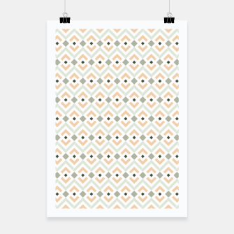 Miniatur Coral and Teal Aztec Geometric Pattern Poster, Live Heroes